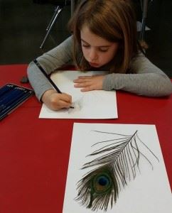 concentrating on drawing